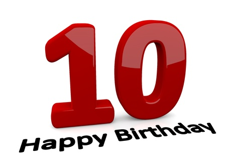 tenth birthday: black lettering Happy Birthday on floor in front of a big red number 10 with reflection Stock Photo