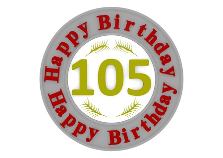 optional: red lettering Happy Birthday in a gray circle around a big yellow number as the age