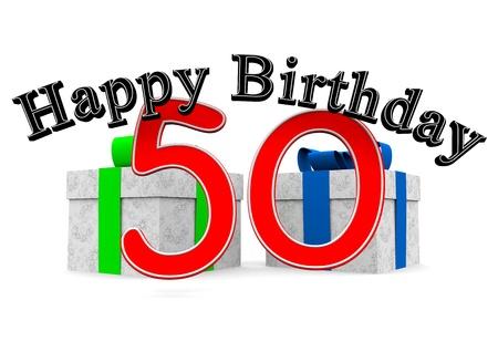 number 50: gran feliz cumplea�os letras de color negro con un gran n�mero rojo 50 a�os como la edad y dos regalos Foto de archivo