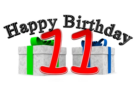 11 number: big black lettering happy birthday with a big red number 11 as the age and two presents Stock Photo
