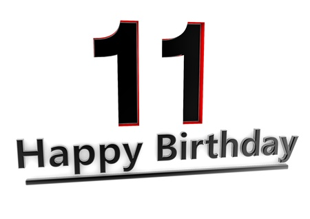 eleventh birthday: a black lettering Happy Birthday with shadows and a big number 11 as relief with red edges Stock Photo