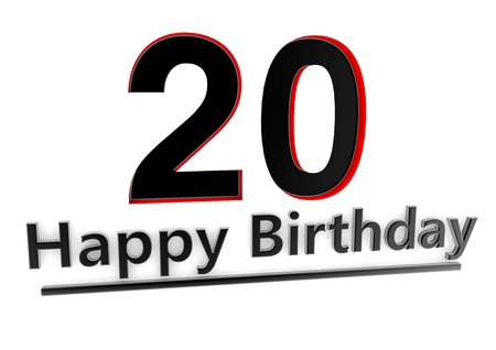 twentieth: a black lettering Happy Birthday with shadows and a big number 20 as relief with red edges