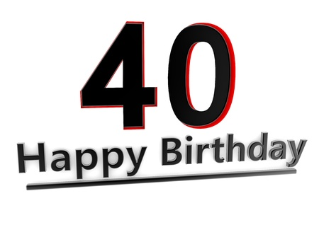 optional: a black lettering Happy Birthday with shadows and a big number 40 as relief with red edges Stock Photo