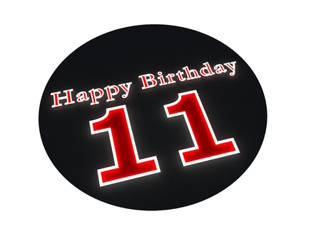 eleventh birthday: The lettering Happy Birthday as luminous writing and the age 11 with red background Stock Photo