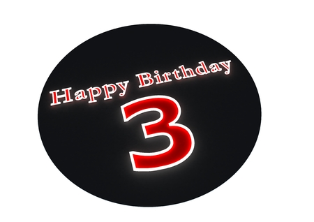 third birthday: The lettering Happy Birthday as luminous writing and the age 3 with red background Stock Photo