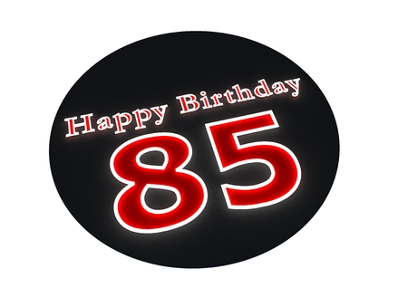 The lettering Happy Birthday as luminous writing and the age 85 with red background photo