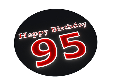 optional: The lettering Happy Birthday as luminous writing and the age 95 with red background Stock Photo