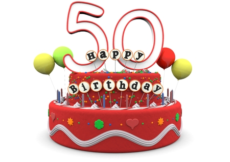 number 50: A birthday cream pie with balloons, big age number 50 and the lettering Happy Birthday on small sticks Stock Photo