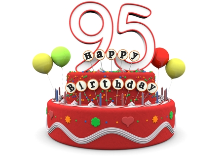 optional: A birthday cream pie with balloons, big age number 95 and the lettering Happy Birthday on small sticks