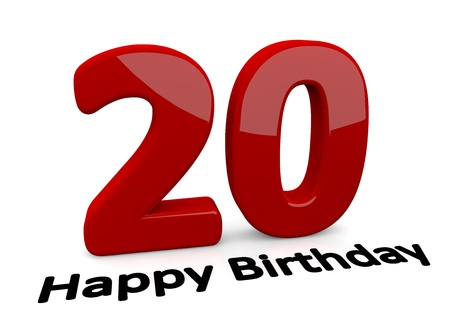 twentieth: black lettering Happy Birthday on floor in front of a big red number 20 with reflection