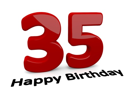 optional: black lettering Happy Birthday on floor in front of a big red number 35 with reflection Stock Photo