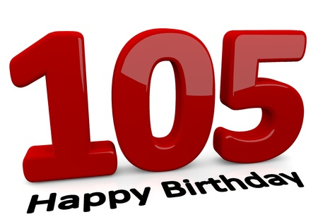optional: black lettering Happy Birthday on floor in front of a big red number 105 with reflection