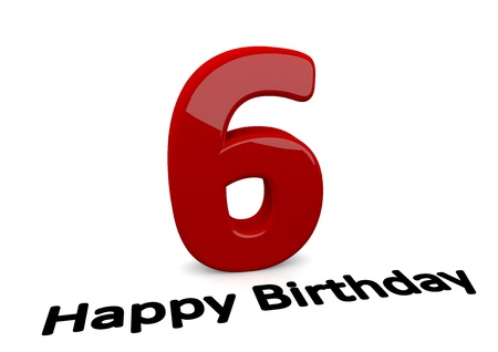 sixth: black lettering Happy Birthday on floor in front of a big red number 6 with reflection