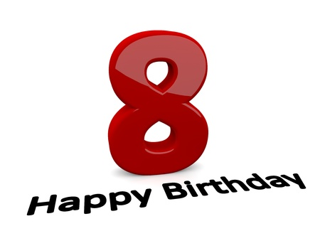 optional: black lettering Happy Birthday on floor in front of a big red number 8 with reflection Stock Photo