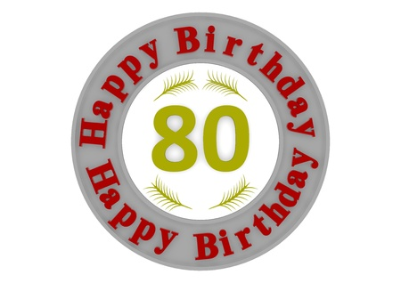 eighty: red lettering Happy Birthday in a gray circle around a big yellow number 80 as the age