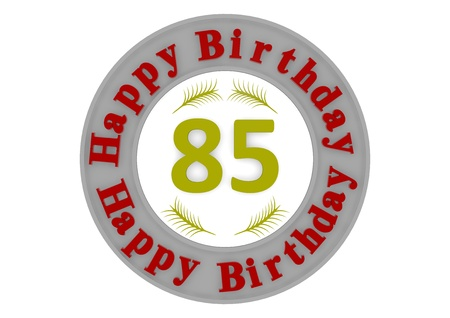 red lettering Happy Birthday in a gray circle around a big yellow number 85 as the age photo
