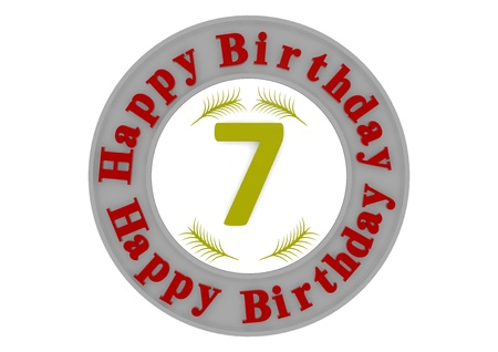 eighth: red lettering Happy Birthday in a gray circle around a big yellow number 7 as the age