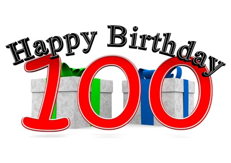 optional: big black lettering happy birthday with a big red number 100 as the age and two presents