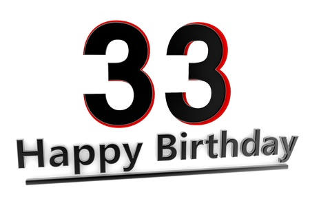 optional: a black lettering Happy Birthday with shadows and a number 33 as relief with red edges