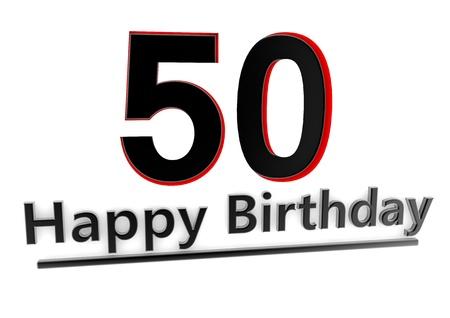number 50: un letrero negro Feliz cumplea�os con las sombras y un n�mero 50 como el alivio con bordes rojos