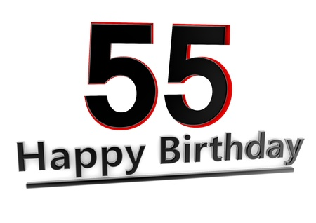 optional: a black lettering Happy Birthday with shadows and a number 55 as relief with red edges Stock Photo