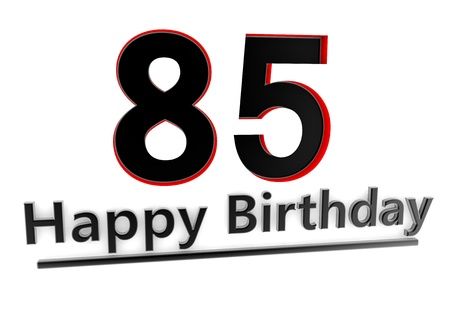 a black lettering Happy Birthday with shadows and a number 85 as relief with red edges photo