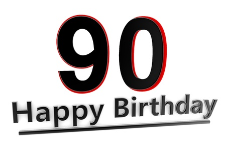 optional: a black lettering Happy Birthday with shadows and a number 90 as relief with red edges