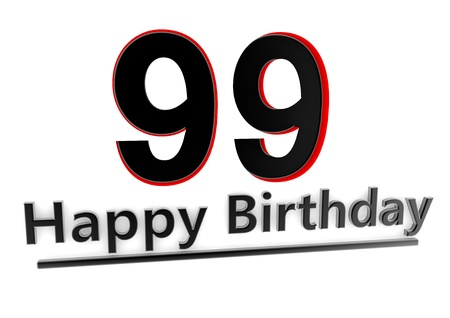 99: a black lettering Happy Birthday with shadows and a number 99 as relief with red edges