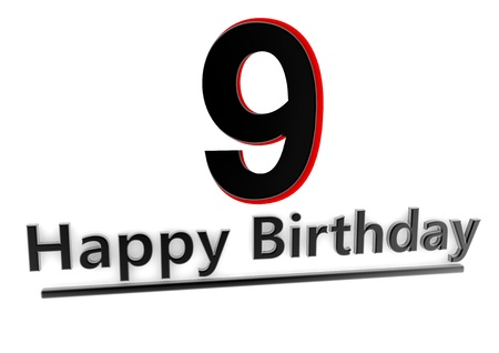 ninth birthday: a black lettering Happy Birthday with shadows und a number 9 as relief with red edges
