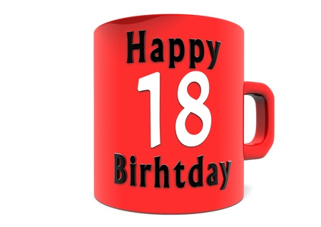 happy birthday 18: lettering Happy Birthday on a big red cup with a white big number Stock Photo
