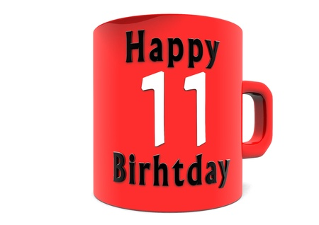 eleventh birthday: lettering Happy Birthday on a big red cup with a white big number Stock Photo