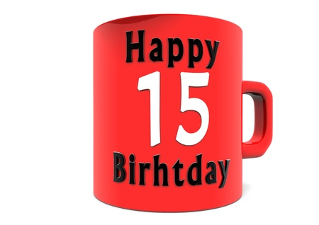 lettering Happy Birthday on a big red cup with a white big number photo