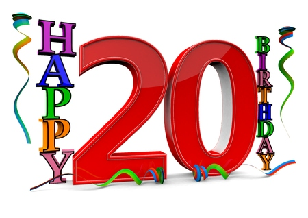 felicitate: a big red 20 between colorful happy birthday with streamers Stock Photo