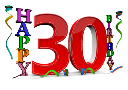 flan: a big red 30 between colorful happy birthday with streamers Stock Photo