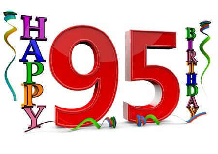 serpentinas: un rojo grande 95 entre colorido feliz cumpleaños con serpentinas Foto de archivo