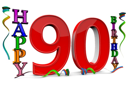 flan: a big red 90 between colorful happy birthday with streamers Stock Photo
