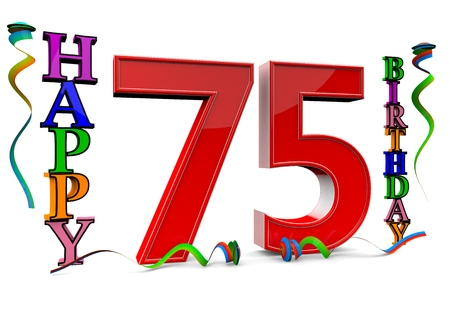 felicitate: a big red 75 between colorful happy birthday with streamers