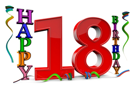 happy birthday 18: a big red 18 between colorful happy birthday with streamers Stock Photo