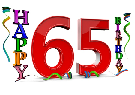 streamers: a big red 65 between colorful happy birthday with streamers Stock Photo