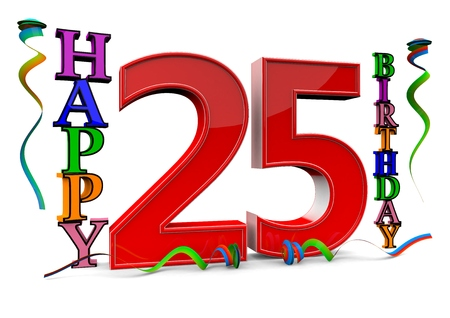 felicitate: a big red 25 between colorful happy birthday with streamers Stock Photo