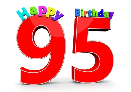 95: The big red number 95 with Happy Birthday in colorful letters Archivio Fotografico
