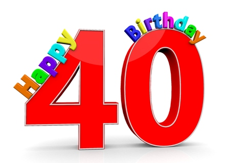 felicitate: The big red number 40 with Happy Birthday in colorful letters
