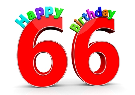 flan: The big red number 66 with Happy Birthday in colorful letters