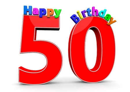 the fiftieth: The big red number 50 with Happy Birthday in colorful letters