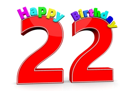 flan: The big red number 22 with Happy Birthday in colorful letters