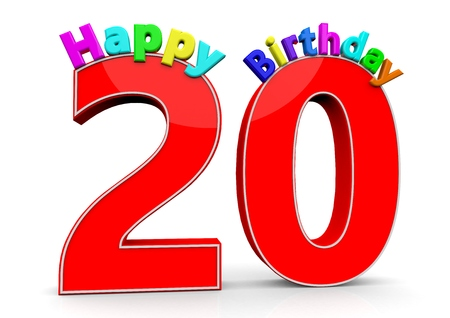 twentieth: The big red number 20 with Happy Birthday in colorful letters Stock Photo