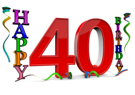 40: a big red 40 between colorful happy birthday with streamers