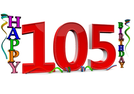 streamers: a big red 105 between colorful happy birthday with streamers Stock Photo