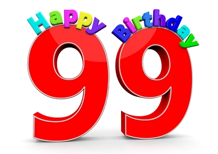 99: The big red number 99 with Happy Birthday in colorful letters