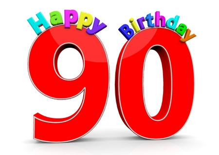 nineties: The big red number 90 with Happy Birthday in colorful letters